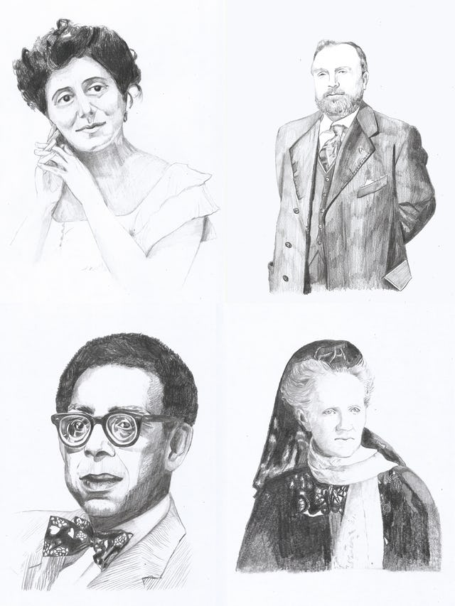 "The article ""Tales of Magnificent Heroism"" includes a series of portraits of writers and artists who were impacted by the message of the Bab. The portraits shown here are (clockwise from top left) Isabella Grinevskaia, Jules Bois, Charlotte Despard, and Robert Hayden."
