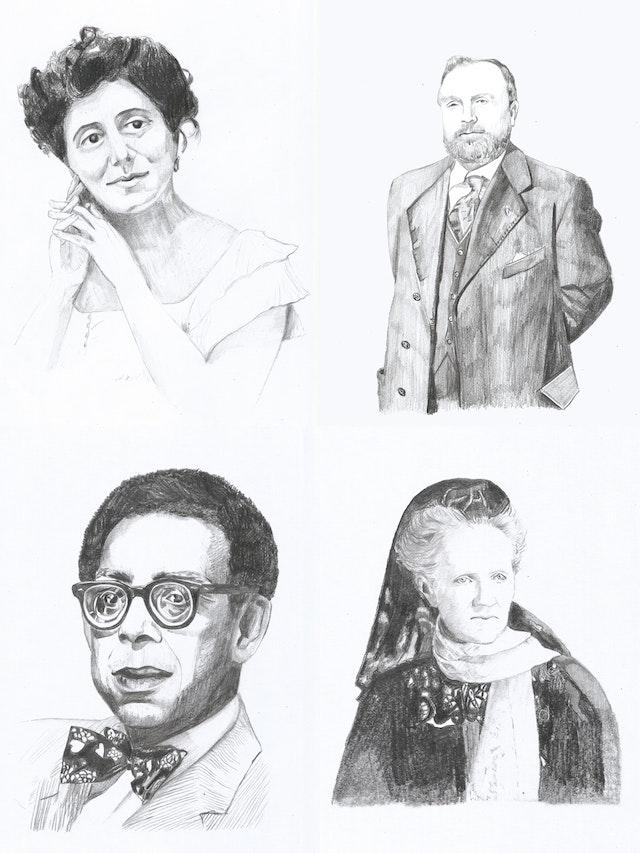 """L'article de Robert Weinberg intitulé """"Tales of Magnificent Heroism"""" (Histoires de magnifique héroïsme), évoque une série de portraits d'écrivains et d'artistes, touchés par le message du Báb. Les portraits sont ceux de (en haut à gauche, dans le sens des aiguilles d'une montre) Isabella Grinevskaia, Jules Bois, Charlotte Despard et Robert Hayden."""