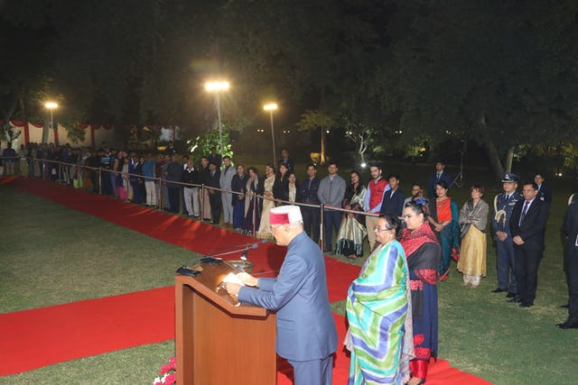 Indian President Ram Nath Kovind addresses the more than 160 attendees of a reception held in honor of the bicentenary of the birth of the Bab at the National Baha'i Centre in New Delhi, India, on Tuesday.