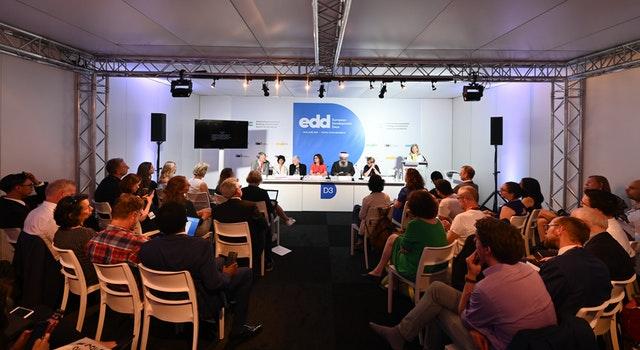 In June, more than 70 people attended a session on religion's role in development, moderated by a Baha'i representative. The session was part of the European Development Days, a major international conference in Brussels. (Credit: EDD Brussels)