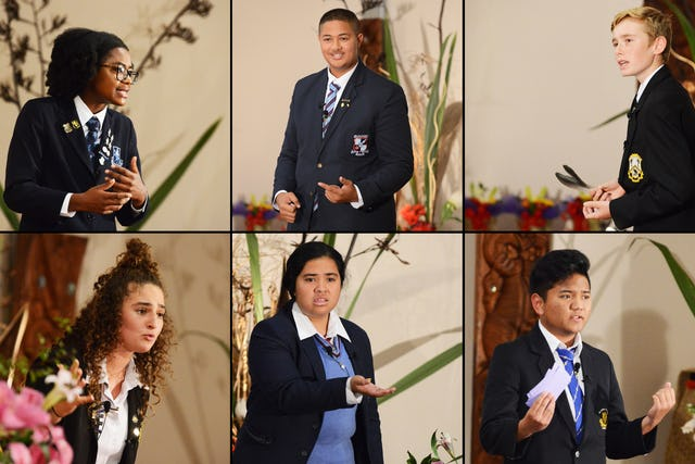 Six finalists spoke at the Race Unity Speech Awards in Auckland, New Zealand. The annual event is organized by the Baha'is, the national police, and other partners. (Credit: Ben Parkinson)