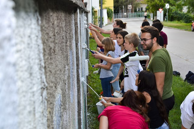 A service project in Ebreichsdorf, Austria, undertaken by a group of youth during the bicentenary period.