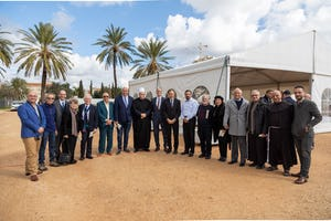 Ceremony at the site of the Shrine of 'Abdu'l-Baha marks the start of construction.