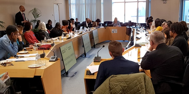 The Brussels office of the Bahá'í International Community (BIC) at a European Parliament panel discussion in January. The Brussels office led a discussion on how institutions and civil society actors can develop language that at once respects diversity and fosters shared identity.