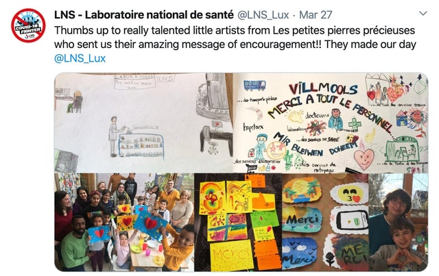 A message posted on Twitter by the National Health Laboritory in Dudelange, Luxembourg, in appreciation for cards and drawings sent by children who participate in a Baha'i moral education class.