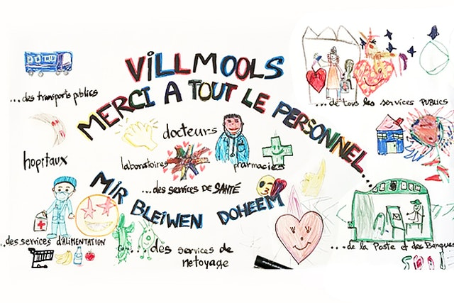 Children participating in moral education classes offered by the Baha'is of Luxembourg made cards and drawings to bring joy to health workers and others carrying out essential services during the current health crisis.