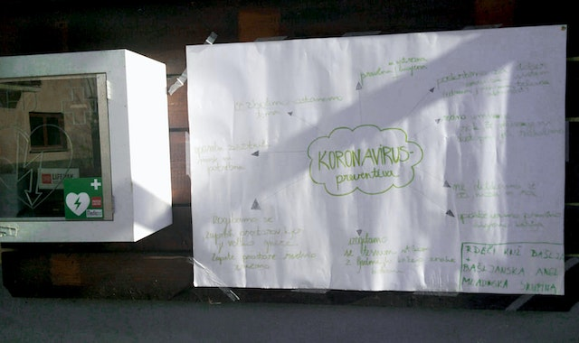 A group of youth in Bašelj, Slovenia, took steps to mitigate the spread of the coronavirus disease (COVID-19), creating an informative poster sharing the steps each individual could take to prevent the transmission of the disease, and displayed it prominently in a public place.