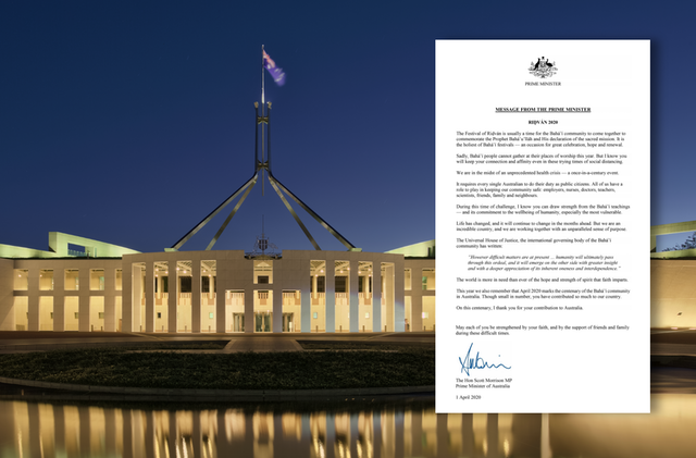 A message sent to the Australian Baha'i community by Prime Minister Scott Morrison on the occasion of the Ridvan festival expresses gratitude for the contributions the community has made to society over the last century and calls attention to the role it can continue to play during this crisis. (Background image credit: Wikimedia/Thennicke CC BY-SA)