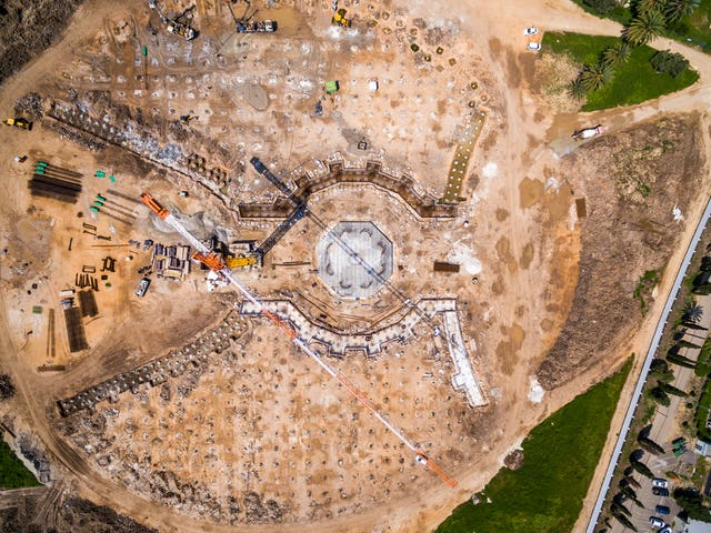 Aerial view of progress on the construction work for the Shrine of 'Abdu'l-Baha.