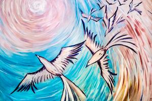 «En estos tiempos difíciles, hemos tenido que mirar más allá del presente, dejando a un lado cualquier sentimiento histórico de desunión, e imaginar cómo podría ser nuestro país cuando emerjamos de esta crisis» afirma Timur Chekparbayev, representante de la Oficina de Asuntos Públicos bahá'í del país. (Obra de un artista de Nur-Sultán, Kazajistán)