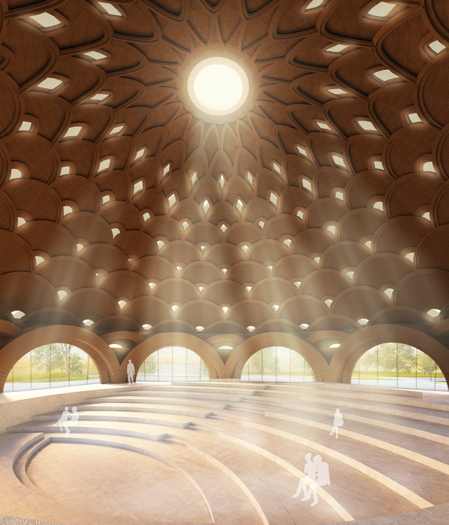 Openings at the center of the dome and in each ring of arches will reduce the weight of the ceiling while allowing gentle light to filter in.
