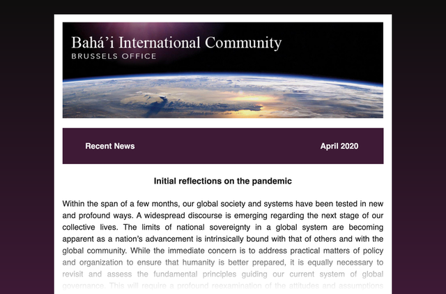 The Brussels Office of the Baha'i International Community (BIC) has launched a quarterly newsletter to share more widely insights emerging from its efforts to contribute to contemporary discourses in Europe.