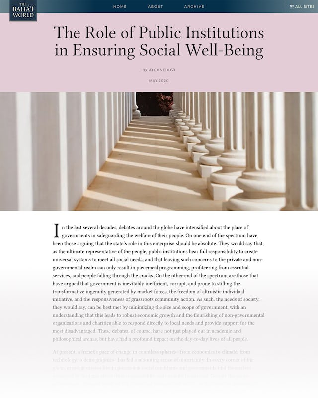 "A new article on The Baha'i World website entitled ""The Role of Public Institutions in Ensuring Social Well-Being"" looks at questions around government's role in social welfare."