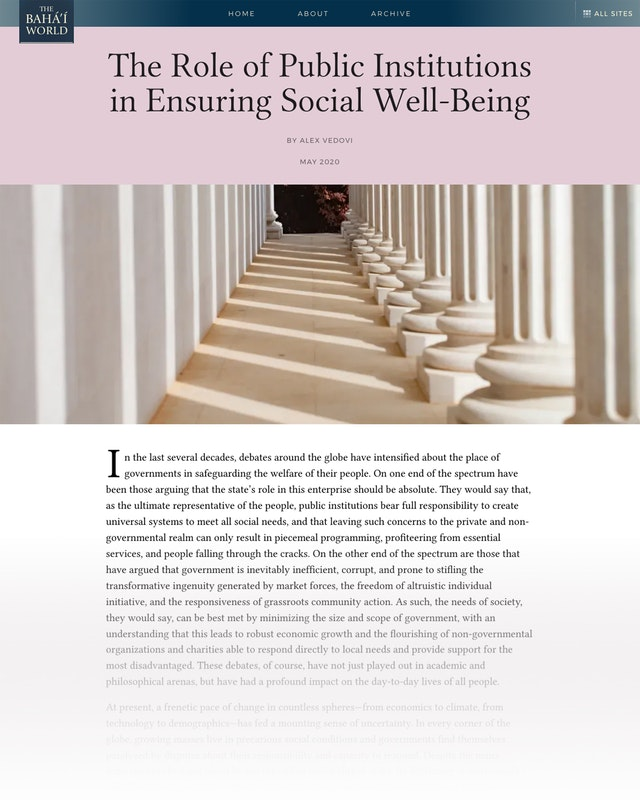 """A new article on The Baha'i World website entitled """"The Role of Public Institutions in Ensuring Social Well-Being"""" looks at questions around government's role in social welfare."""