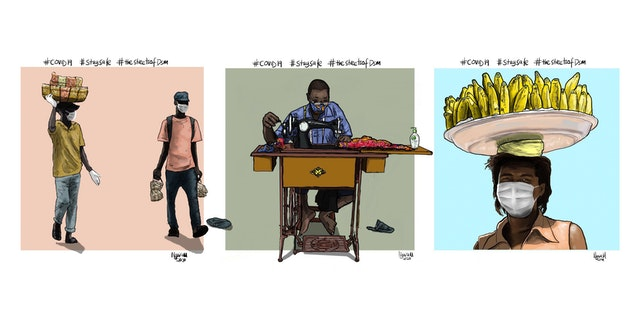 """A youth in Dar es Salaam, Tanzania, uses digital artwork to encourage compliance with preventive health measures such as physical distancing. """"I was motivated to shed light on the realities on the ground and share some health tips,"""" says the artist. """"I wanted to show, through illustrations, how people are coping with the outbreak."""""""