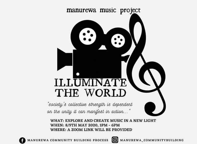 "An initiative of several musicians in Auckland, New Zealand, titled ""Illuminate the World"", has been bringing people together to create musical works that shed light on challenges facing their society."