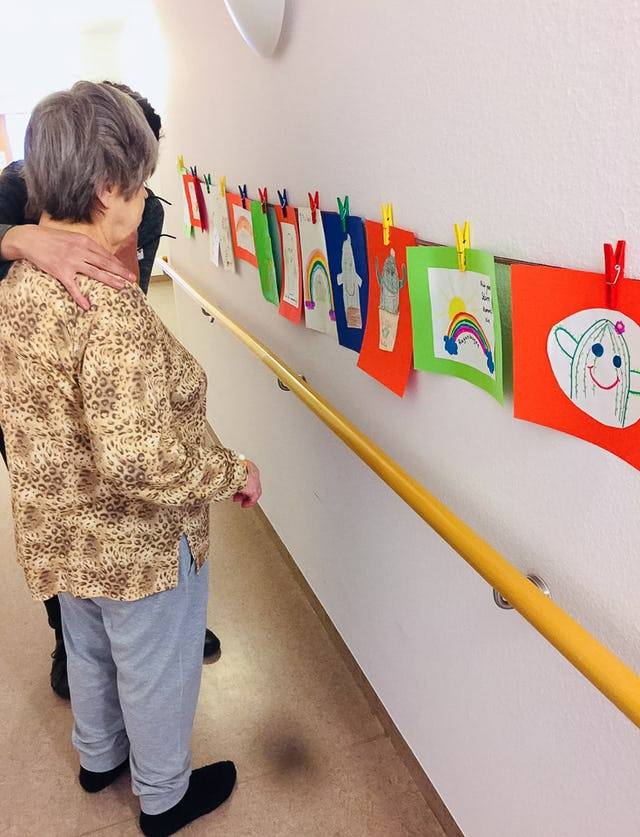 Children in Berlin, Germany, who participate in Baha'i education classes, have made drawings on the theme of hope for the residents of a home for the elderly