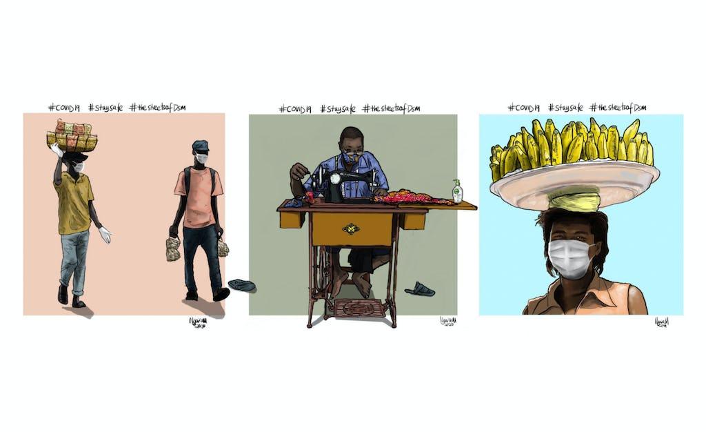 En Tanzanie, un jeune de Dar es Salaam utilise des illustrations numériques pour encourager le respect des mesures de santé préventives telles que l'éloignement physique. « J'étais motivé pour faire la lumière sur les réalités du terrain et partager quelques conseils de santé, explique l'artiste. Je voulais montrer, à travers des illustrations, comment les gens font face à l'épidémie. »