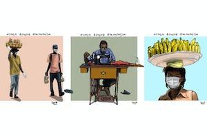 Un joven de Dar es Salaam (Tanzania) emplea el arte digital para fomentar el cumplimiento de las medidas sanitarias preventivas, como el distanciamiento social. El artista comenta: «Me animó la idea de ilustrar la realidad sobre el terreno y compartir algunas recomendaciones sanitarias. Quería mostrar a través de mis ilustraciones cómo la gente hace frente al brote».