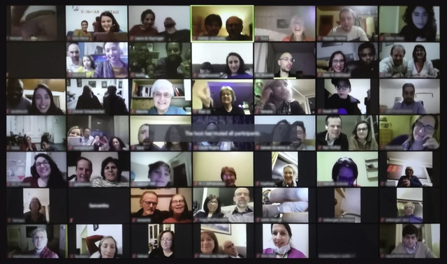 An online devotional gathering of over 100 people in Belgium.