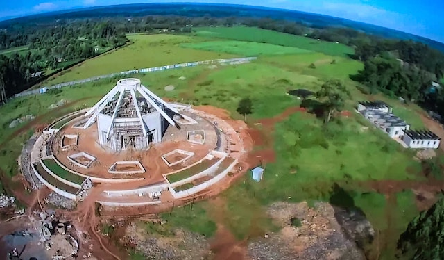 Aerial view of the central edifice and grounds of the local Baha'i House of Worship in Matunda, Kenya.