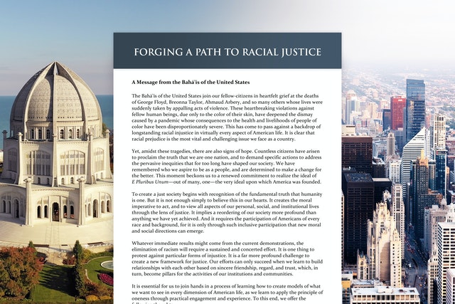 A public statement from the Baha'i National Spiritual Assembly of the United States on racial prejudice and spiritual principles essential for progress toward peace released days ago has already stimulated critical reflection across the country.  (Right: photo of the city of Chicago by Erol Ahmed on Unsplash)