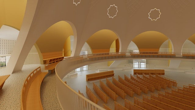 An interior view of the design for the national Baha'i House of Worship to be built in the Democratic Republic of the Congo.