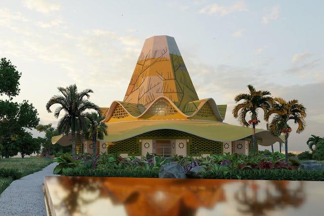 Le projet de la maison d'adoration de Kinshasa s'inspire des œuvres d'art traditionnelles, des structures et des caractéristiques naturelles de la RDC.