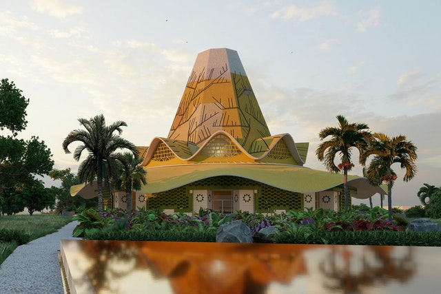 The design of the House of Worship in Kinshasa is inspired by traditional artworks, structures and natural features of the DRC.