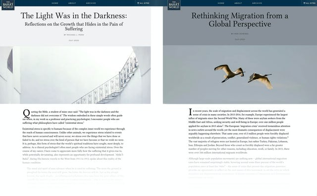 """Two new articles on The Baha'i World website entitled """"Rethinking Migration from a Global Perspective"""" and """"The Light Was in the Darkness: Reflections on the Growth that Hides in the Pain of Suffering"""" explore different aspects of social transformation."""
