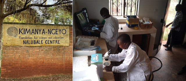 Performing soil analysis at the Kimanya-Ngeyo Foundation for Science and Education, a Baha'i-inspired organization in Uganda.