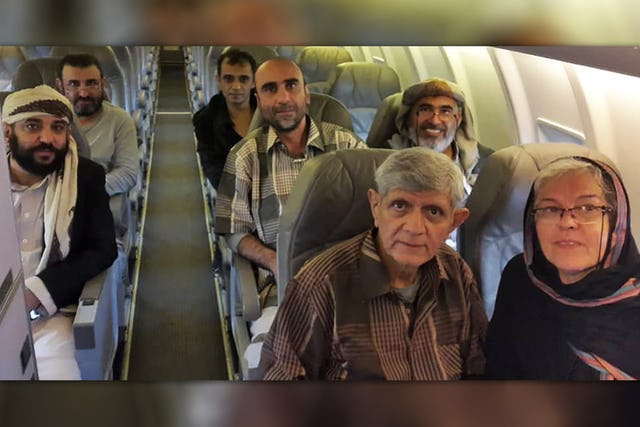 Six Baha'is are in a safe location where they can recuperate after enduring extremely difficult conditions for three to nearly seven years in prison, pictured left to right: back row: Mr. Waleed Ayyash, Mr. Wael al-Arieghie; middle row: Mr. Akram Ayyash, Mr. Kayvan Ghaderi, Mr. Hamed bin Haydara; front row: Mr. Badiullah Sanai. Also pictured is Mr. Sanai's wife, Mrs. Faezeh Sanai.