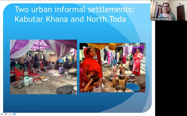 Caroline Custer Fazli, a research scholar with the University of Bath, United Kingdom, and member of the Indian Baha'i community, said at the gathering that research in informal settlements in Indore, India, has highlighted rich elements of the residents' culture that often go unrecognized.