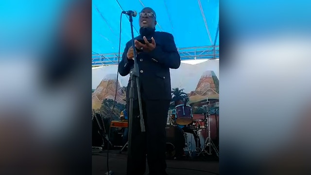 Lavoisier Mutombo Tshiongo, the secretary of the National Spiritual Assembly of the DRC, at the groundbreaking ceremony for the national House of Worship.