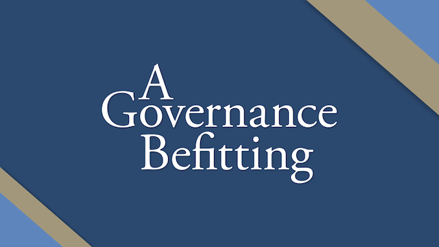"""The statement, """"A Governance Befitting: Humanity and the Path Toward a Just Global Order,"""" has, in the brief time since its publication in September, already begun to stimulate profound reflection and thoughtful discussion about the role of international structures."""