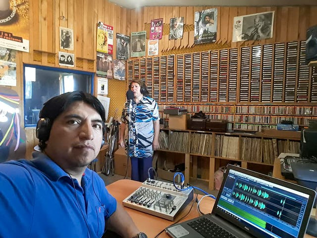 Photograph taken before the current health crisis. One area of focus of Chile Bahá'í Radio has been the preservation of language and culture of the Mapuche people.