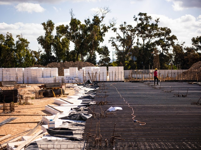 "Once ""void former"" blocks are put in place, reinforcement bars are laid for the concrete pour."