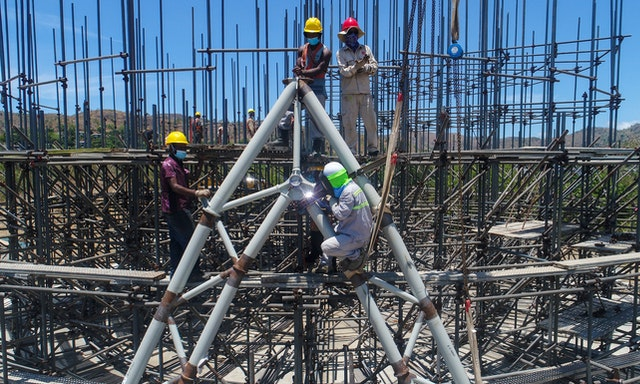Since the foundations of the House of Worship in Papua New Guinea were completed last December, work has progressed on an intricate steel structure for the central edifice that traces the unique weaving pattern of the exterior.
