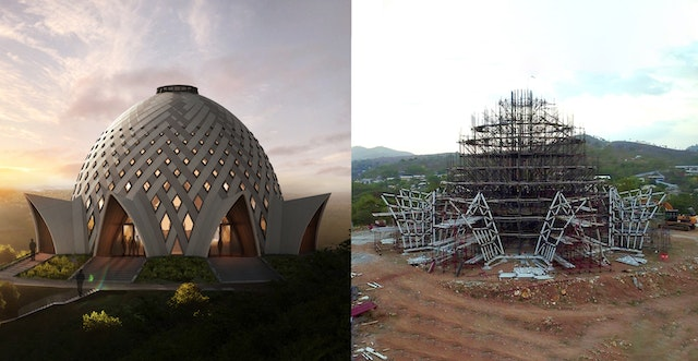 A virtual rendering of the design for the national Bahá'í House of Worship of Papua New Guinea (left) compared with recent progress on the structure (right).