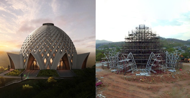 A virtual rendering of the design for the national Bahá'í House of Worship of Papua New Guinea (left) compared with recent progress on the structure (right). An intricate steel structure for the central edifice traces the unique weaving pattern of the exterior.