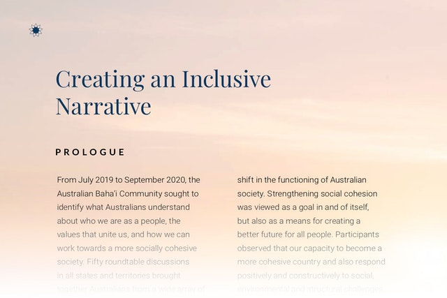 The publication Creating an Inclusive Narrative is the fruit of two years of conversations among officials, academics, social actors, and people throughout Australia.