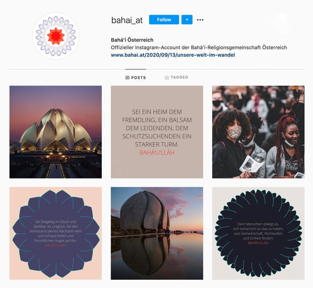 Instagram account of the Austrian Bahá'í Office of External Affairs.