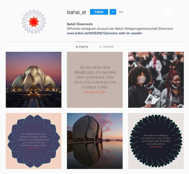 Compte Instagram du Bureau bahá'í autrichien des affaires extérieures.