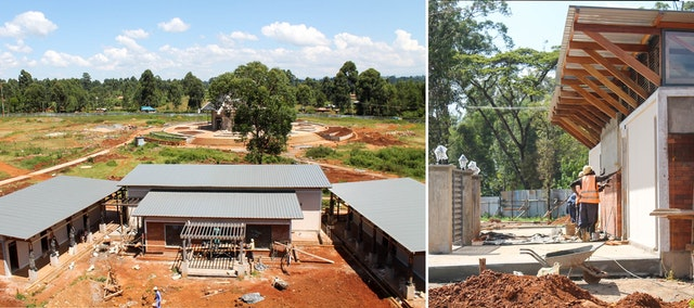 Left: The reception center with the central edifice visible in the background. Right: Work continues on one of the ancillary buildings that will provide services to visitors.