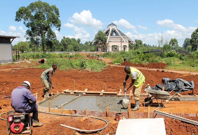 As construction across the site advances, work is beginning on the gardens and paths that will surround the temple.