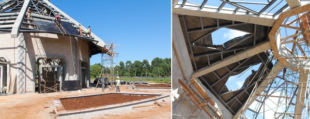All steel work is now in place to support the tiles and skylights that will make up the roof.