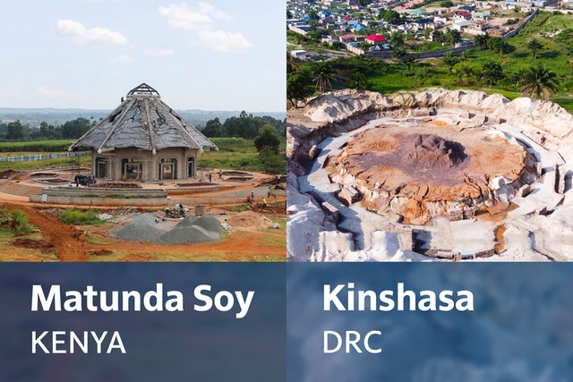 Work on the foundations of the temple in Kinshasa is advancing steadily while work in Kenya approaches final stages.
