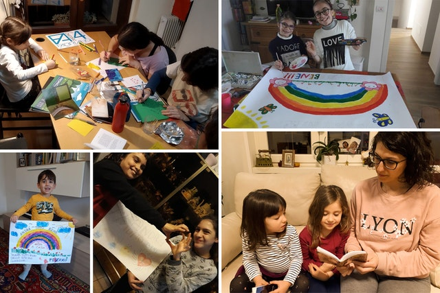 As outbreaks of COVID-19 began to disrupt life in country after country, Bahá'í communities found creative means to continue to serve their societies while maintaining safe measures put in place by their governments. Seen here are families in Italy praying and creating messages of hope for their fellow citizens.