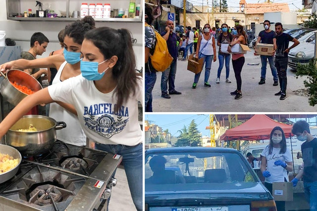 """In the days after an explosion that rocked Beirut in August, a group of youth engaged in Bahá'í community-building efforts quickly met to make plans for assisting with relief and recovery. They created a volunteer network called the """"Helping Hub"""" to coordinate the actions of people around them."""