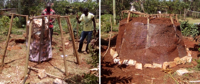"""Pictured here is the construction of a """"food tower"""" at the training center of the Kimanya-Ngeyo Foundation for Science and Education, a Bahá'í-inspired organization in Uganda whose programs have continued to raise capacity in specific areas of community development during the pandemic."""